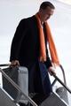 Jan 26, 2014; Newark, NJ, USA; Denver Broncos quarterback Peyton Manning arrives at Newark Liberty International Airport face the Seattle Seahawks in Super Bowl XLVIII.  Mandatory Credit: Joe Camporeale-USA TODAY Sports