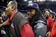 Jan 28, 2014; Newark, NJ, USA; Seattle Seahawks cornerback Richard Sherman (25) leaves Media Day for Super Bowl XLIII at Prudential Center. Mandatory Credit: Brad Penner-USA TODAY Sports