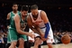 Jan 28, 2014; New York, NY, USA; Boston Celtics center Vitor Faverani (38) and New York Knicks center Tyson Chandler (6) are unable to control a loose ball during the first half at Madison Square Garden. Mandatory Credit: Joe Camporeale-USA TODAY Sports