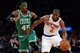 Jan 28, 2014; New York, NY, USA; Boston Celtics small forward Gerald Wallace (45) guards New York Knicks point guard Raymond Felton (2) during the second half at Madison Square Garden. The New York Knicks won the game 114-88. Mandatory Credit: Joe Camporeale-USA TODAY Sports