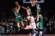 Jan 28, 2014; New York, NY, USA; Boston Celtics center Kelly Olynyk (41) attempts a shot over New York Knicks power forward Jeremy Tyler (4) during the second half at Madison Square Garden. The New York Knicks won the game 114-88. Mandatory Credit: Joe Camporeale-USA TODAY Sports