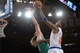 Jan 28, 2014; New York, NY, USA; New York Knicks shooting guard J.R. Smith (8) puts up a layup over Boston Celtics center Kelly Olynyk (41) during the second half at Madison Square Garden. The New York Knicks won the game 114-88. Mandatory Credit: Joe Camporeale-USA TODAY Sports