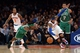 Jan 28, 2014; New York, NY, USA; New York Knicks small forward Carmelo Anthony (7) and Boston Celtics small forward Gerald Wallace (45) go after a loose ball during the first half at Madison Square Garden. The New York Knicks won the game 114-88. Mandatory Credit: Joe Camporeale-USA TODAY Sports