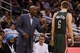 Jan 31, 2014; Orlando, FL, USA; Milwaukee Bucks head coach Larry Drew talks with point guard Nate Wolters (6) against the Orlando Magic during the second half at Amway Center. Orlando Magic won 113-102.  Mandatory Credit: Kim Klement-USA TODAY Sports