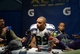 Feb 2, 2014; East Rutherford, NJ, USA; Seattle Seahawks wide receiver Doug Baldwin is interviewed after Super Bowl XLVIII against the Denver Broncos at MetLife Stadium.  Mandatory Credit: Kirby Lee-USA TODAY Sports