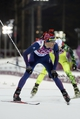 Feb 8, 2014; Krasnaya Polyana, RUSSIA; Ole Einar Bjoerndalen (NOR, left) and Matej Kazar (SVK, right) cross the finish line during the Sochi 2014 Olympic Winter Games at Laura Cross-Country Ski and Biathlon Center. Mandatory Credit: Jack Gruber-USA TODAY Sports