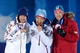 Feb 9, 2014; Sochi, RUSSIA; Ole Einar Bjoerndalen (NOR), middle, Dominik Landertinger (AUT), left, and Jaroslav Soukup (CZE) pose with their medals in the medal ceremony for the men's 10km biathlon sprint during the Sochi 2014 Olympic Winter Games at Medals Plaza. Mandatory Credit: Kyle Terada-USA TODAY Sports