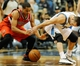 Feb 8, 2014; Minneapolis, MN, USA; Portland Trail Blazers guard C.J. McCollum (3) steals the ball from Minnesota Timberwolves guard Jose Barea (11) in the first half at Target Center. The Trail Blazers defeated the Wolves  117-110.  Mandatory Credit: Marilyn Indahl-USA TODAY Sports