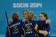 Feb 10, 2014; Sochi, RUSSIA; Margaretha Sigfridsson (SWE) and Christina Bertrup (SWE) and Maria Prytz (SWE) and Maria Wennerstroem (SWE) celebrate in the women's curling round robin session 1 during the Sochi 2014 Olympic Winter Games at Ice Cube Curling Center. Mandatory Credit: Kyle Terada-USA TODAY Sports