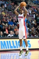 Feb 10, 2014; Auburn Hills, MI, USA; Detroit Pistons point guard Brandon Jennings (7) during the second quarter against the San Antonio Spurs at The Palace of Auburn Hills. Mandatory Credit: Tim Fuller-USA TODAY Sports