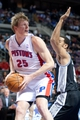 Feb 10, 2014; Auburn Hills, MI, USA; Detroit Pistons small forward Kyle Singler (25) during the first quarter against the San Antonio Spurs at The Palace of Auburn Hills. Mandatory Credit: Tim Fuller-USA TODAY Sports