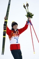 Feb 12, 2014; Krasnaya Polyana, RUSSIA; Eric Frenzel (GER) at the flower ceremony following the nordic combined competition in the Sochi 2014 Olympic Winter Games at RusSki Gorki Ski Jumping Center.  Mandatory Credit: Rob Schumacher-USA TODAY Sports