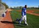 Feb 12, 2014; Glendale, AZ, USA; Los Angeles Dodgers outfielder Matt Kemp walks onto the field during team workouts at Camelback Ranch. Mandatory Credit: Mark J. Rebilas-USA TODAY Sports