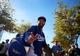 Feb 12, 2014; Glendale, AZ, USA; Los Angeles Dodgers outfielder Matt Kemp greets fans as he leaves the field following team workouts at Camelback Ranch. Mandatory Credit: Mark J. Rebilas-USA TODAY Sports