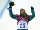 Feb 12, 2014; Krasnaya Polyana, RUSSIA; Torah Bright (AUS) celebrates winning silver in the ladies' half pipe finals during the Sochi 2014 Olympic Winter Games at Rosa Khutor Extreme Park. Mandatory Credit: Andrew P. Scott-USA TODAY Sports