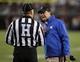 Oct 26, 2013; Blacksburg, VA, USA; Duke Blue Devils head coach David Cutcliffe talks with a referee during the against the Virginia Tech Hokies at Lane Stadium. Mandatory Credit: Peter Casey-USA TODAY Sports
