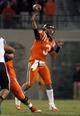Oct 26, 2013; Blacksburg, VA, USA; Virginia Tech Hokies quarterback Logan Thomas (3) passes the ball against the Duke Blue Devils at Lane Stadium. Mandatory Credit: Peter Casey-USA TODAY Sports