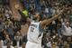 Feb 12, 2014; Minneapolis, MN, USA; Minnesota Timberwolves center Ronny Turiaf (32) reacts after blocking a shot in the first half against the Denver Nuggets at Target Center. Mandatory Credit: Jesse Johnson-USA TODAY Sports