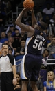 Feb 12, 2014; Orlando, FL, USA; Memphis Grizzlies power forward Zach Randolph (50) shoots against the Orlando Magic during the second half at Amway Center. Memphis Grizzlies defeated the Orlando Magic 86-81. Mandatory Credit: Kim Klement-USA TODAY Sports