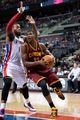 Feb 12, 2014; Auburn Hills, MI, USA; Cleveland Cavaliers power forward Tristan Thompson (13) goes to the basket against Detroit Pistons power forward Greg Monroe (10) during the fourth quarter at The Palace of Auburn Hills. Cleveland won 93-89. Mandatory Credit: Tim Fuller-USA TODAY Sports
