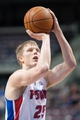 Feb 12, 2014; Auburn Hills, MI, USA; Detroit Pistons small forward Kyle Singler (25) shoots a free throw during the first quarter against the Cleveland Cavaliers at The Palace of Auburn Hills. Mandatory Credit: Tim Fuller-USA TODAY Sports