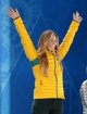 Feb 13, 2014; Sochi, RUSSIA; Torah Bright (AUS) reacts after being introduced as the silver medalist during the medal ceremony for the ladies' halfpipe at the Sochi 2014 Olympic Winter Games at the Medals Plaza. Mandatory Credit: James Lang-USA TODAY Sports