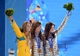 Feb 13, 2014; Sochi, RUSSIA; Torah Bright (AUS), left, Kaitlyn Farrington (USA), middle, and Kelly Clark (USA) pose during the medal ceremony for the ladies' halfpipe at the Sochi 2014 Olympic Winter Games at the Medals Plaza. Mandatory Credit: James Lang-USA TODAY Sports