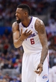 Feb 12, 2014; Los Angeles, CA, USA; Los Angeles Clippers center DeAndre Jordan (6) reacts during the game against the Portland Trail Blazers at Staples Center. The Clippers defeated the Trail Blazers 122-117. Mandatory Credit: Kirby Lee-USA TODAY Sports