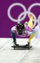 Feb 15, 2014; Krasnaya Polyana, RUSSIA; John Farrow (AUS) on his final run in the men's skeleton during the Sochi 2014 Olympic Winter Games at Sanki Sliding Center. Mandatory Credit: John David Mercer-USA TODAY Sports