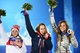 Feb 15, 2014; Sochi, RUSSIA; (Left to right) Elena Nikitina of Russia, Elizabeth Yarnold of Great Britain, and Noelle Pikus-Pace of the United States of America pose for photos during the medal ceremony for Women's Skeleton during the Sochi 2014 Olympic Winter Games at the Medals Plaza. Mandatory Credit: Robert Deutsch-USA TODAY Sports