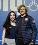 Feb 16, 2014; Sochi, RUSSIA; Meryl Davis and Charlie White (USA) pose for a photo at a press conference after winning the gold medal in the ice dance in the Sochi 2014 Olympic Winter Games. Mandatory Credit: Michael Madrid-USA TODAY Sports