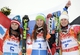 Feb 18, 2014; Krasnaya Polyana, RUSSIA; Tina Maze (SLO, 1) wins gold, Anna Fenninger (AUT, 5) wins silver, and Viktoria Rebensburg (GER, 7) wins bronze in the final run of ladies' giant slalom during the Sochi 2014 Olympic Winter Games at Rosa Khutor Alpine Center. Mandatory Credit: Jack Gruber-USA TODAY Sports