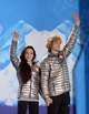 Feb 18, 2014; Sochi, RUSSIA; Meryl Davis (left) and Charlie White (right), of the United States of America, pose before receiving their gold medals during the medal ceremony for Figure Skating Ice Dance during the Sochi 2014 Olympic Winter Games at the Medals Plaza. Mandatory Credit: Jayne Kamin-Oncea-USA TODAY Sports
