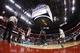 Feb 18, 2014; Washington, DC, USA; Washington Wizards point guard John Wall (2) shoots the ball over Toronto Raptors center Jonas Valanciunas (17) in the second quarter at Verizon Center. Mandatory Credit: Geoff Burke-USA TODAY Sports