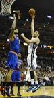 Feb 18, 2014; Memphis, TN, USA; Memphis Grizzlies center Kosta Koufos (41) shoots over New York Knicks center Tyson Chandler (6) during the second quarter at FedExForum. Mandatory Credit: Justin Ford-USA TODAY Sports