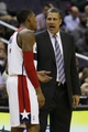 Feb 18, 2014; Washington, DC, USA; Washington Wizards head coach Randy Wittman talks with Wizards shooting guard Bradley Beal (3) against the Toronto Raptors in the third quarter at Verizon Center. The Raptors won 103-93. Mandatory Credit: Geoff Burke-USA TODAY Sports
