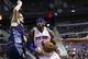 Feb 18, 2014; Auburn Hills, MI, USA; Detroit Pistons small forward Josh Smith (6) moves the ball defended by Charlotte Bobcats power forward Josh McRoberts (11) in the fourth quarter at The Palace of Auburn Hills. Charlotte won 108-96. Mandatory Credit: Rick Osentoski-USA TODAY Sports