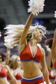 Feb 18, 2014; Auburn Hills, MI, USA; Detroit Pistons dancer performs during a time out in the second half against the Charlotte Bobcats at The Palace of Auburn Hills. Mandatory Credit: Rick Osentoski-USA TODAY Sports