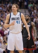 Feb 18, 2014; Dallas, TX, USA; Dallas Mavericks power forward Dirk Nowitzki (41) reacts to a call during the second half against the Miami Heat at the American Airlines Center. Nowitzki leads his team with  22p points. The Heat defeated the Mavericks  117-106. Mandatory Credit: Jerome Miron-USA TODAY Sports