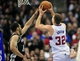 February 18, 2014; Los Angeles, CA, USA; Los Angeles Clippers power forward Blake Griffin (32) moves to the basket against San Antonio Spurs center Jeff Ayres (11) during the second half at Staples Center. Mandatory Credit: Gary A. Vasquez-USA TODAY Sports