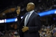 Feb 19, 2014; Cleveland, OH, USA; Orlando Magic head coach Jacque Vaughn calls a play in the third quarter against the Cleveland Cavaliers at Quicken Loans Arena. Mandatory Credit: David Richard-USA TODAY Sports
