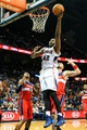 Feb 19, 2014; Atlanta, GA, USA; Atlanta Hawks power forward Elton Brand (42) shoots a basket in the second half against the Washington Wizards at Philips Arena. The Wizards won 114-97. Mandatory Credit: Daniel Shirey-USA TODAY Sports
