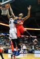Feb 19, 2014; Atlanta, GA, USA; Atlanta Hawks power forward Elton Brand (42) dunks on Washington Wizards point guard John Wall (2) in the second half at Philips Arena. The Wizards won 114-97. Mandatory Credit: Daniel Shirey-USA TODAY Sports