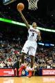 Feb 19, 2014; Atlanta, GA, USA; Atlanta Hawks shooting guard Louis Williams (3) shoots  basket in the second half against the Washington Wizards at Philips Arena. The Wizards won 114-97. Mandatory Credit: Daniel Shirey-USA TODAY Sports