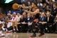 Feb 19, 2014; Toronto, Ontario, CAN; Chicago Bulls guard D.J. Augustin (14) passes the ball against the Toronto Raptors at Air Canada Centre. The Bulls beat the Raptors 94-92. Mandatory Credit: Tom Szczerbowski-USA TODAY Sports
