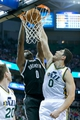 Feb 19, 2014; Salt Lake City, UT, USA; Brooklyn Nets center Andray Blatche (0) dunks over Utah Jazz center Enes Kanter (0) during the first half at EnergySolutions Arena. The Nets won 105-99. Mandatory Credit: Russ Isabella-USA TODAY Sports