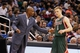 Jan 31, 2014; Orlando, FL, USA; Milwaukee Bucks head coach Larry Drew talks with point guard Nate Wolters (6) against the Orlando Magic during the second half at Amway Center. Orlando Magic defeated the Milwaukee Bucks 113-102.  Mandatory Credit: Kim Klement-USA TODAY Sports