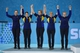 Feb 20, 2014; Sochi, RUSSIA; (L-R) Agnes Knochenhauer (SWE), Margaretha Sigfridsson (SWE), Maria Wennerstroem (SWE), Christina Bertrup (SWE), and Maria Prytz (SWE) smile for winning the silver medal in the women's curling gold medal match during the Sochi 2014 Olympic Winter Games at Ice Cube Curling Center. Mandatory Credit: Kyle Terada-USA TODAY Sports