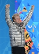 Feb 20, 2014; Sochi, RUSSIA; Ted Ligety of the USA reacts to the crowd before receiving his gold medal during the medal ceremony for Alpine Skiing Men's Giant Slalom during the Sochi 2014 Olympic Winter Games at the Medals Plaza. Mandatory Credit: Jayne Kamin-Oncea-USA TODAY Sports