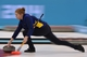 Feb 20, 2014; Sochi, RUSSIA; Margaretha Sigfridsson (SWE) in the women's curling gold medal match during the Sochi 2014 Olympic Winter Games at Ice Cube Curling Center. Mandatory Credit: Kyle Terada-USA TODAY Sports